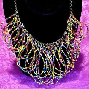NWT Erica Lyons seed bead bib necklace